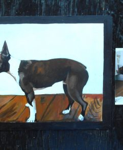 Folk art portrait of a Boston Terrier in profile hand painted on metal in Nepal