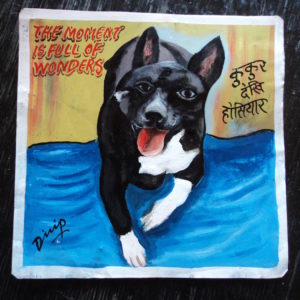 Folk art portrait of a black and white Terrier mix