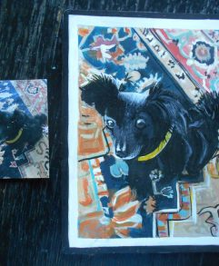 Folk art portrait of a Papillion and Chihuahua mixed dog