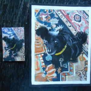 Folk art portrait of a Papillion and Chihuahua mixed dog