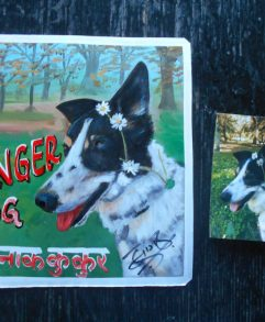 Folk art portrait of a Border Collie Rescue hand painted in Nepal