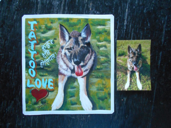 Folk art portrait of a German Shepherd hand painted in Nepal