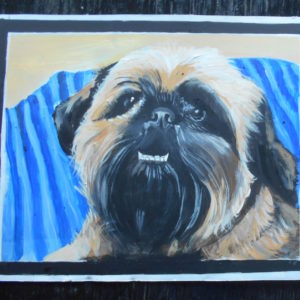 Folk art portrait of a Brussels Griffon hand painted in Nepal